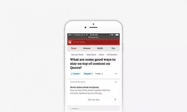 Quora推出特别产品 可以投放App广告啦!