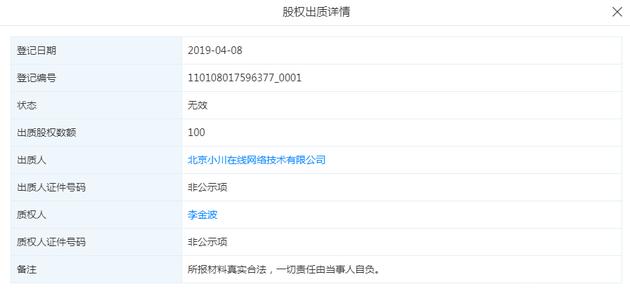 最右App创始人李金波出质公司股权