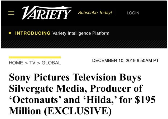 索尼影视电视1.95亿美元收购Silvergate Media